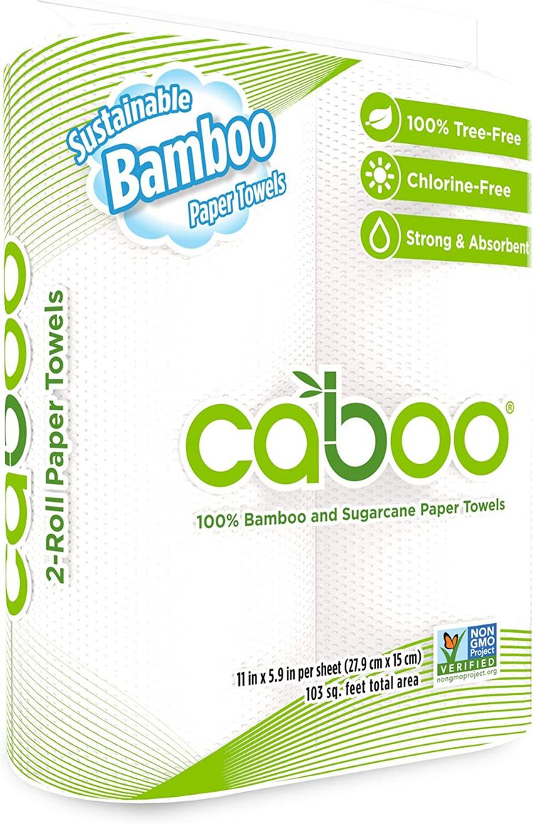 Caboo Tree Free Bamboo Paper Towels, 2 Rolls, Earth Friendly Biodegradable Kitchen Paper Towels with Strong 2 Ply Sheets