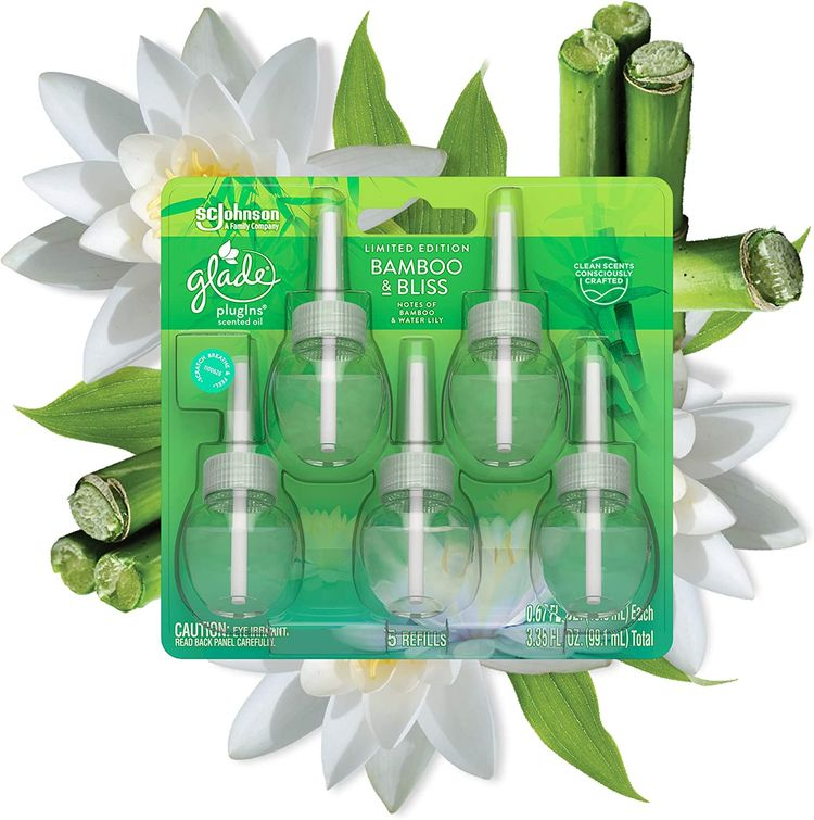 Glade PlugIns Refills Air Freshener, Scented and Essential Oils for Home and Bathroom, Bamboo & Bliss, 3.35 Fl Oz, 5 Count