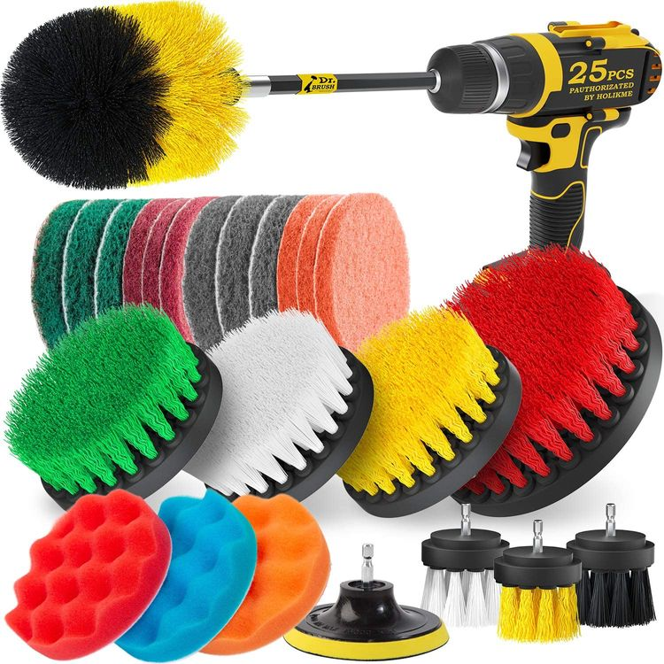Holikme 25Piece Drill Brush Attachments Set,Scrub Pads & Sponge, Power Scrubber Brush with Extend Long Attachment All Purpose Clean for Grout, Tiles, Sinks, Bathtub, Bathroom, Kitchen