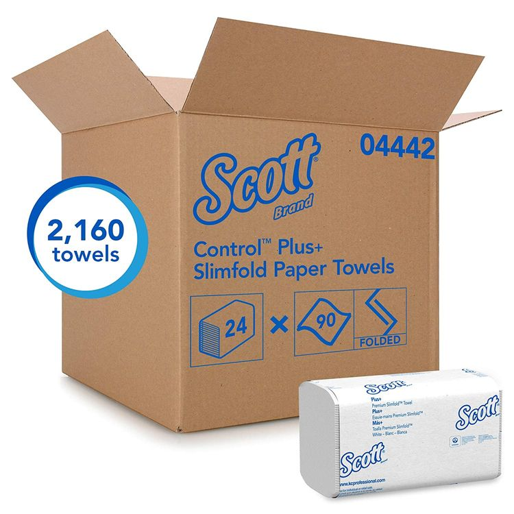 Scott Control Hand Towels Slimfold (04442) with Fast-Drying Absorbency Pockets, White, 90 Towels / Clip, 24 Packs / Case, 90 Count (Pack of 24)
