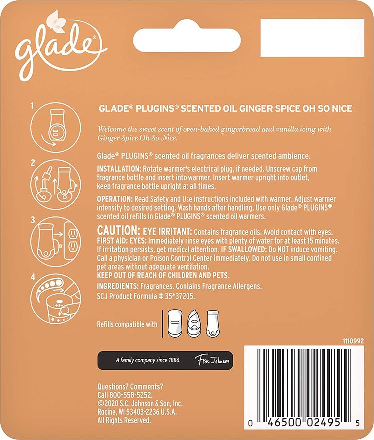 Glade PlugIns Refills Air Freshener, Scented and Essential Oils for Home and Bathroom, Ginger Spice Oh So Nice, 1.34 Fl Oz, 2 Count