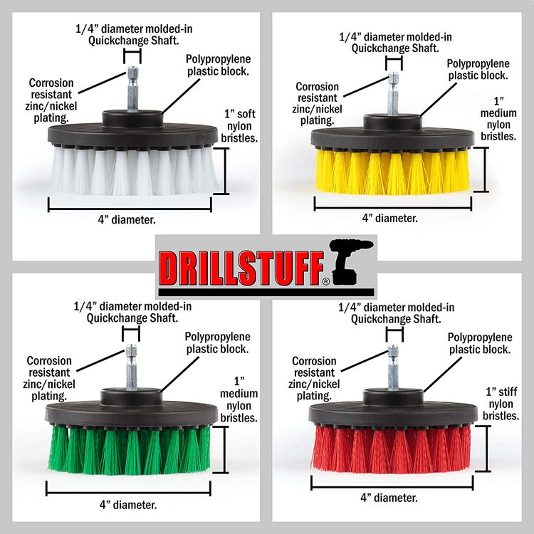 Drill Brush Attachment Power Scrubber Brush Set - 4in 4 Piece Soft, Medium and Stiff Power Scrubbing Brush Drill Attachment – Spinning Brush for Cleaning Showers, Tubs, Bathroom, Tile, Grout, Carpet