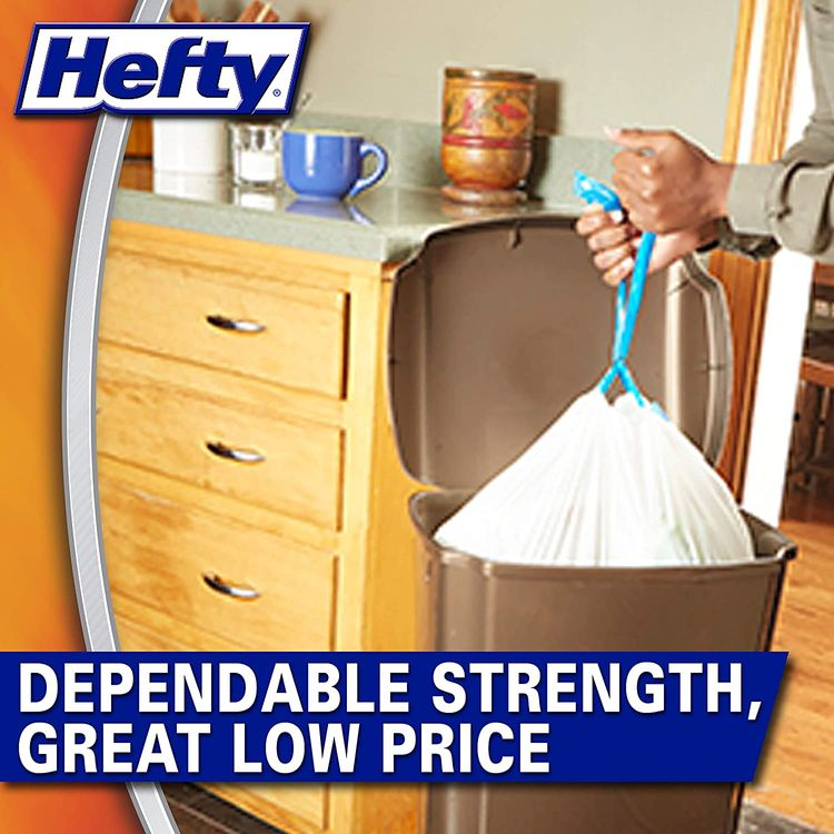 Hefty Strong Tall Kitchen Trash Bags, White, Unscented, 13 Gallon, 90 Count