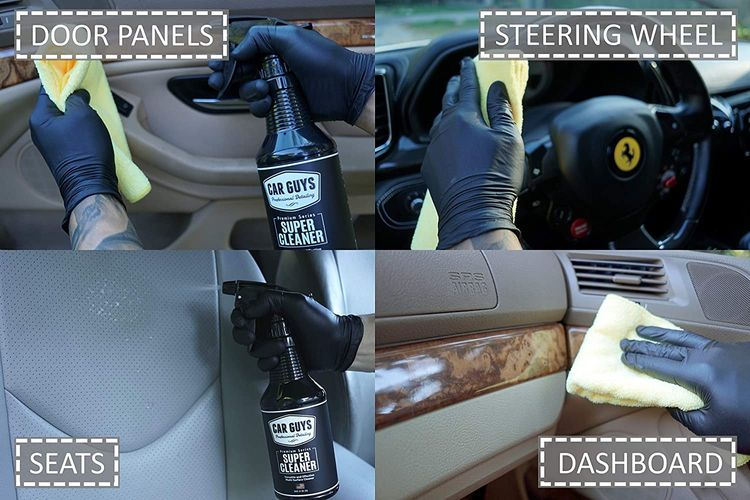 CarGuys Super Cleaner - Effective All Purpose Cleaner - Best for Leather Vinyl Carpet Upholstery Plastic Rubber and Much More! - 18 oz Kit
