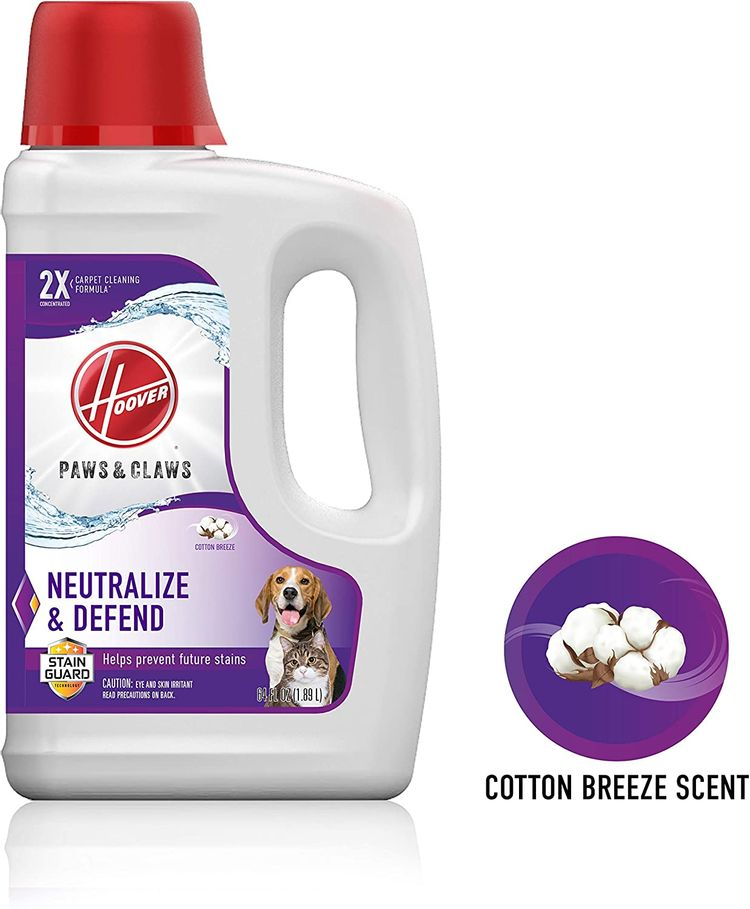 Hoover Paws & Claws Deep Cleaning Carpet Shampoo with Stainguard, Concentrated Machine Cleaner Solution for Pets, 64oz Formula, AH30925, White, Package may vary