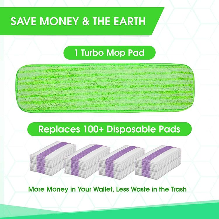 Microfiber Mop Pad Replacement Kit - 2 Pack Reusable Washable MF Mop Head Fits 14-18 Inch - Best Thick Spray Wet Dust Dry Flat Attachment Bona, Bruce, Rubbermaid, Libman, Zflow + More