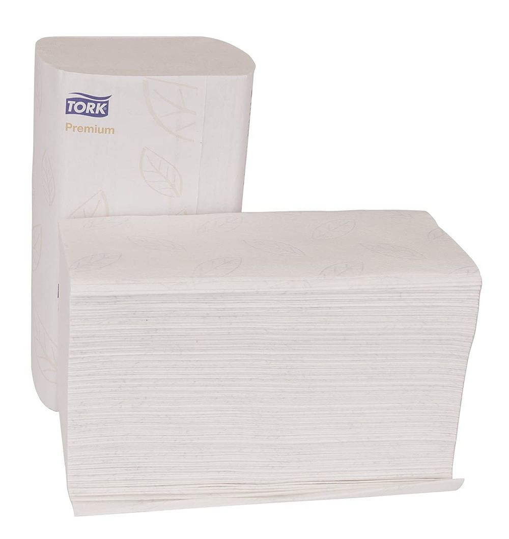 """Tork Premium MB578 Soft Xpress Multifold Paper Hand Towel, 3-Panel, 2-Ply, 9.125"""" Width x 10.875"""" Length, White, 2,160 Towels, 135 Per Pack (Pack of 16), White with Blue Leaf"""
