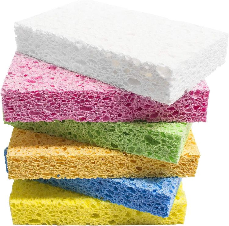 ARCLIBER Cellulose Sponge,Heavy Duty Scrub Sponge,Clean Tough Messes Without Scratching for Kitchen(6 Pack)