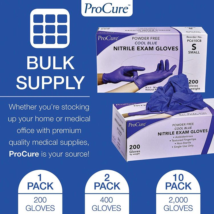 ProCure Disposable Nitrile Gloves - Small, 200 Count - Powder Free, Rubber Latex Free, Medical Exam Grade, Non Sterile, Ambidextrous - Soft with Textured Tips - Cool Blue