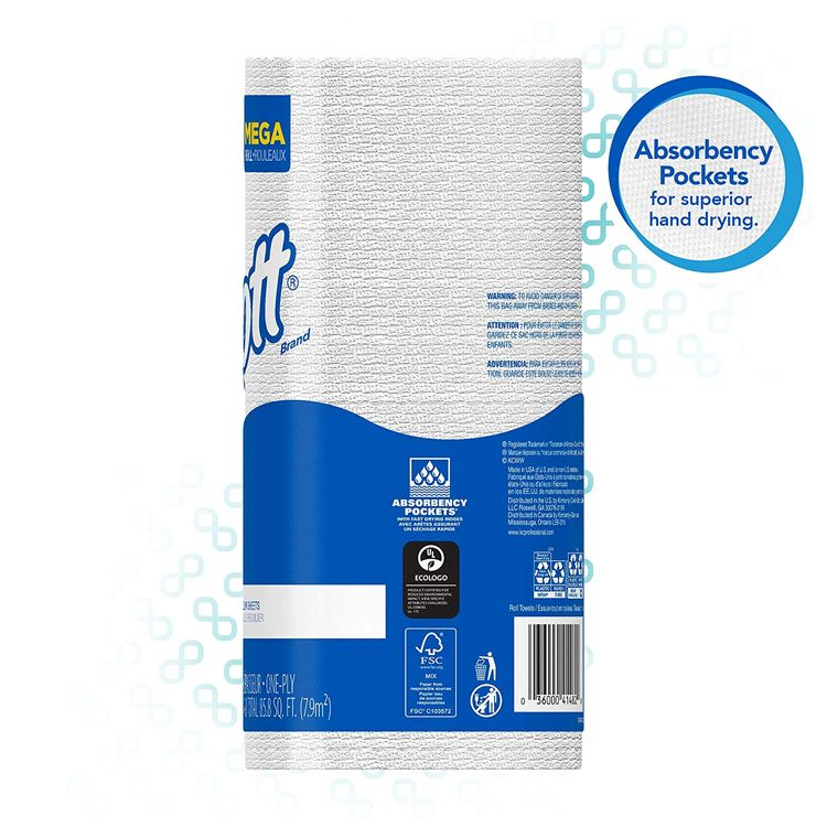 Scott Kitchen Paper Towels (41482) with Fast-Drying Absorbency Pockets, Perforated Standard Paper Towel Rolls, 128 Sheets/Roll, 20 Rolls/Case