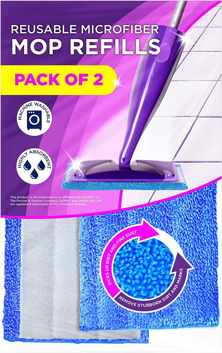 Microfiber Mop Pads Compatible with Swiffer Wet Jet - Pads for Wet and Dry Sweeping - Reusable Floor Cleaning Pads - 2 Pack