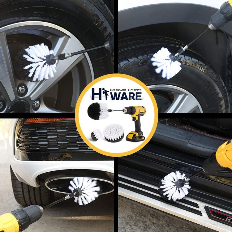 HIWARE 4 Pcs Drill Brush Car Detailing Kit with Extend Attachment, Soft Bristle Power Scrubber Brush Set for Cleaning Car, Boat, Seat, Carpet, Upholstery and Shower Door - White