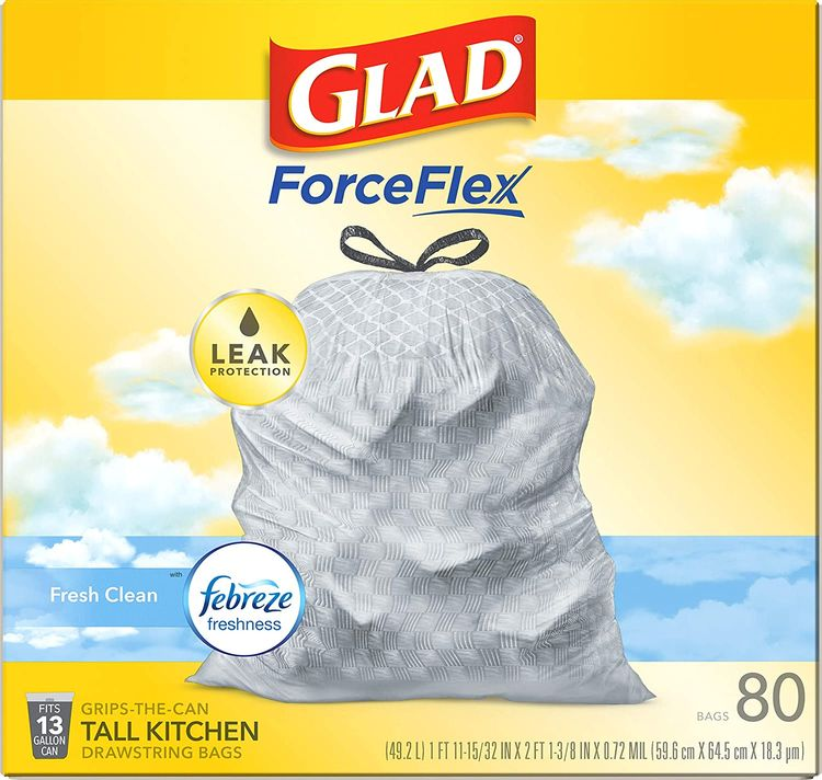 Glad ForceFlex Tall Kitchen Drawstring Trash Bags – 13 Gallon Trash Bag, Fresh Clean scent with Febreze Freshness – 80 Count (Package May Vary)