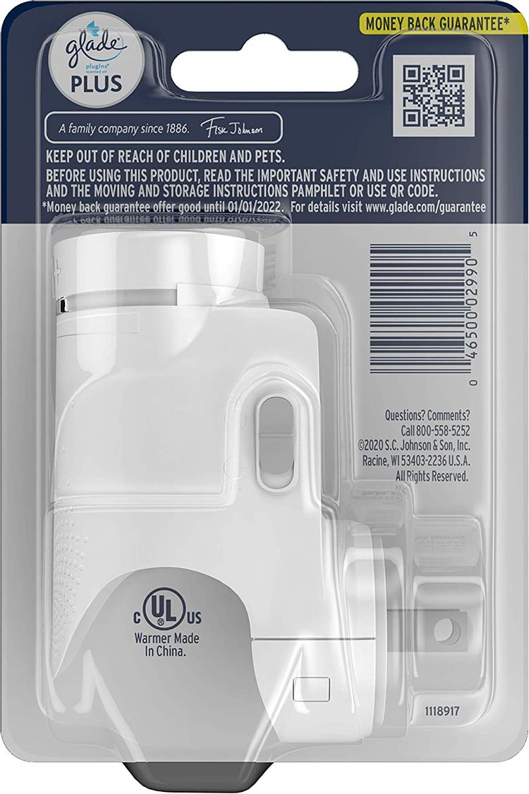 Glade PlugIn Plus Air Freshener Warmer, Holds Scented Oil Refill, 1 Count
