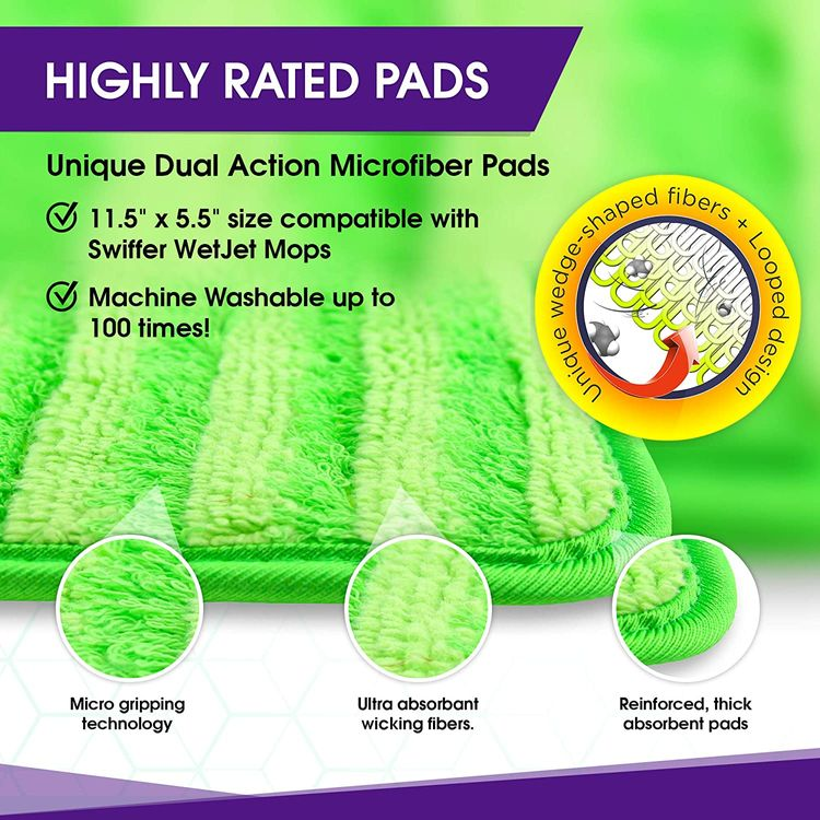 Reusable Mop Pads Compatible with Swiffer Wetjet - 12 Inch Washable Microfiber Mop Pad Refills Pads Compatible with Spray Wet Jet Mop Heads for Floor Cleaning (2 Pack)