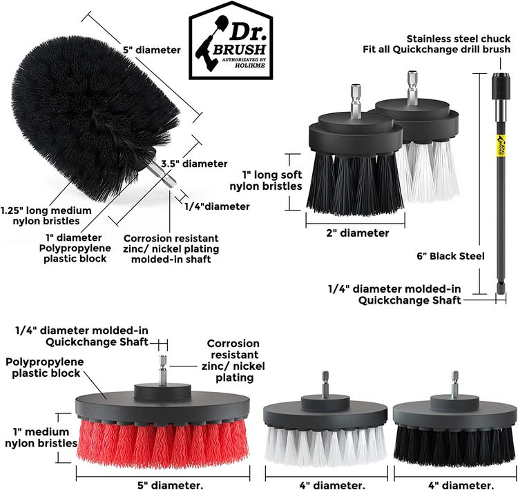 Holikme 20Piece Drill Brush Attachments Set,Black Scrub Pads & Sponge, Power Scrubber Brush with Extend Long Attachment All Purpose Clean for Grout, Tiles, Sinks, Bathtub, Bathroom, Kitchen & Automo