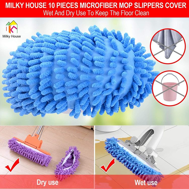 10 Pieces Microfiber Mop Slippers Shoes Cover Soft Washable Reusable Floor Polishing Dust Dirt Hair Men Women Sweeper Cleaning Mop Tool for House Office Bathroom Kitchen, Multicolored 5 Pairs