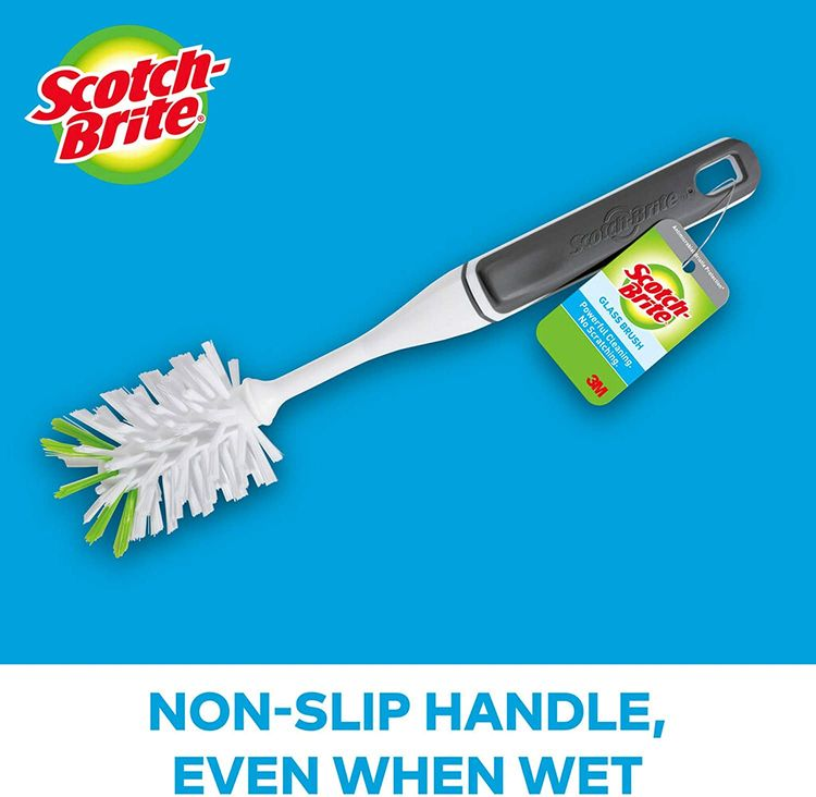 Scotch-Brite Glass and Water Bottle Brush, Long-Lasting Bristles, Safe On Multiple Types Of Water Bottles, Baby Bottles, Vases, And More