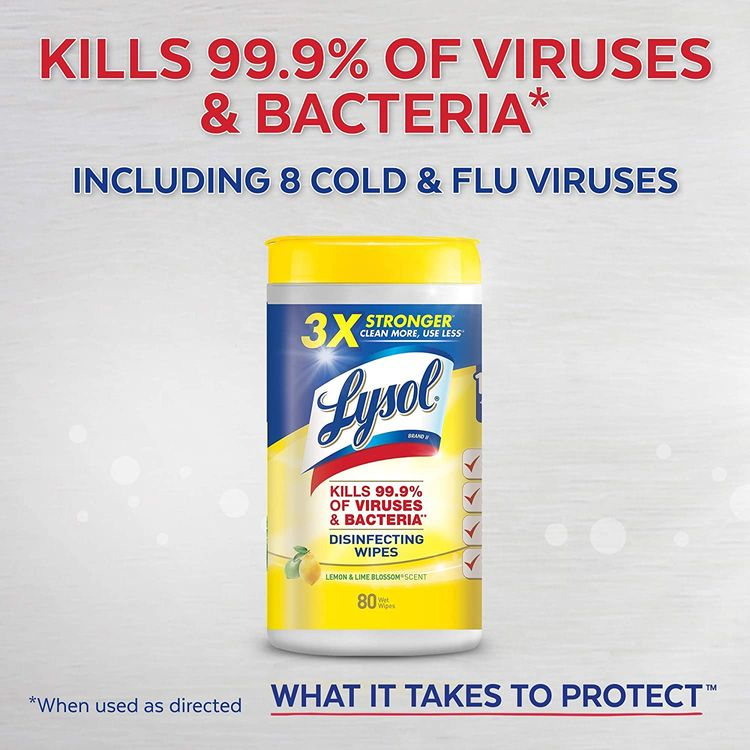 Lysol Disinfecting Wipes, Lemon & Lime Blossom, Packaging May Vary, 80 Count (Pack of 4)