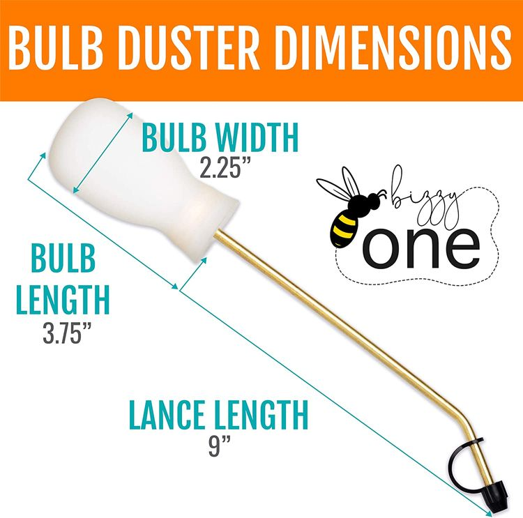 Bizzy One Bulb Duster - 4oz/Diatomaceous Earth Applicator/Garden Puffer Duster/Powder Duster - 2 lances for Multi Purpose Indoor and Outdoor Uses