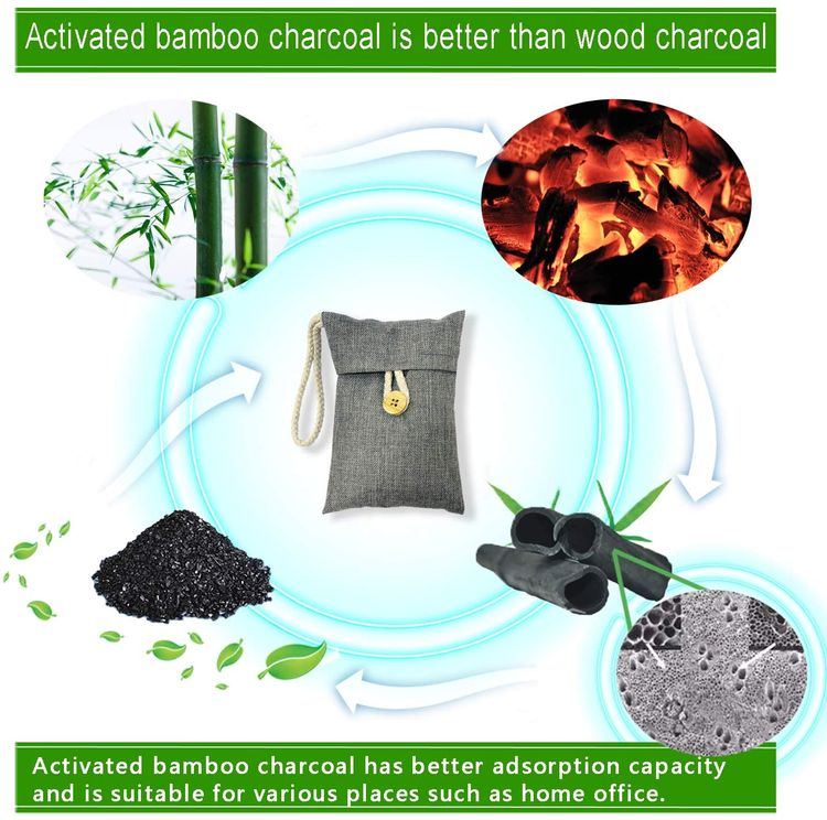 wyewye Activated Bamboo Charcoal Air Purifying Bags for Car Closet Shoe Home Basement 15Packs×100g