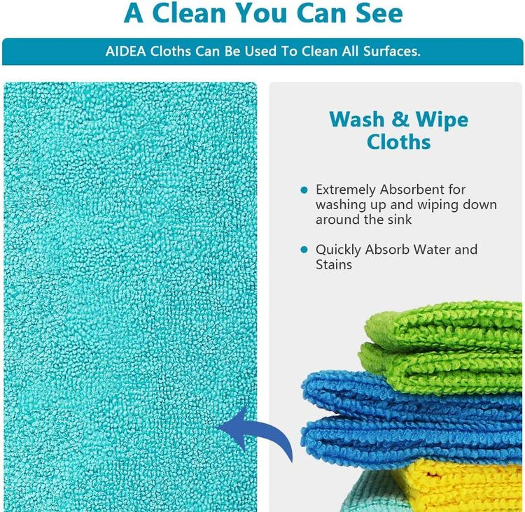 AIDEA Microfiber Cleaning Cloths-50PK, All-Purpose Softer Highly Absorbent, Lint Free - Streak Free Wash Cloth for House, Kitchen, Car, Window, Gifts(12in.x 12in.)