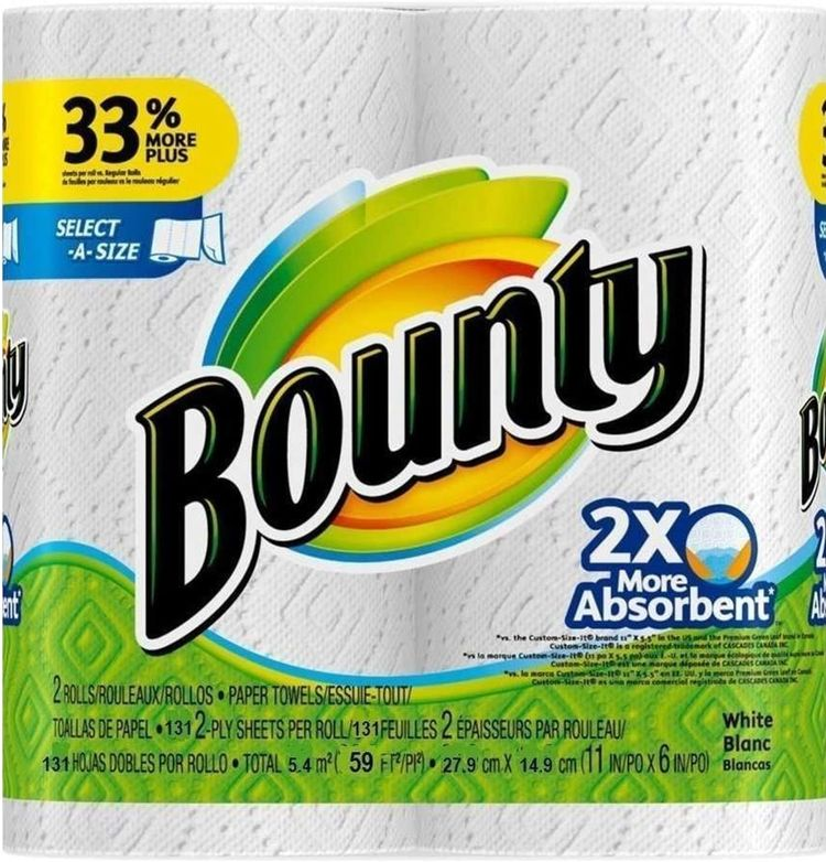 Bounty Select-a-Size 2 x More Absorbent Paper Towels,11 x 5.9-Inches PLY SHEETS,White (PACK OF 2)