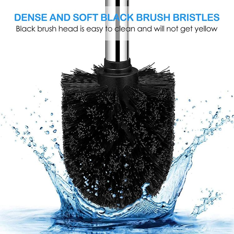 Toilet Brush and Holder,Toilet Bowl Brush with 304 Stainless Steel Long Handle, Hidden Toilet Brush with Durable Scrubbing Bristles for Bathroom Deep Cleaning