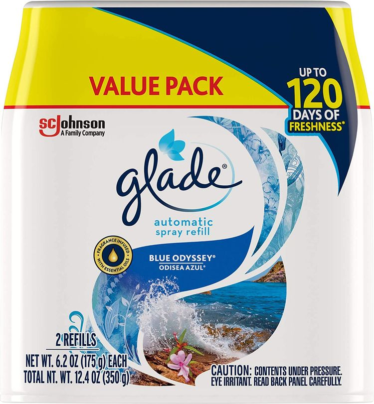 Glade Automatic Spray Refill, Air Freshener for Home and Bathroom, Blue Odyssey, 6.2 Oz, 2 Count