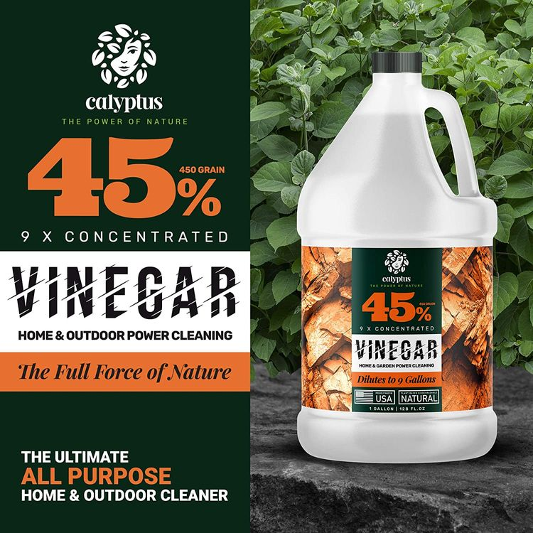 Calyptus 45% Pure Super Concentrated Vinegar | Dilutes to 9 Gallons | 9x Power Cleaning Vinegar | Plant Based | Home and Outdoor | All-Purpose Cleaner, 1 Gallon