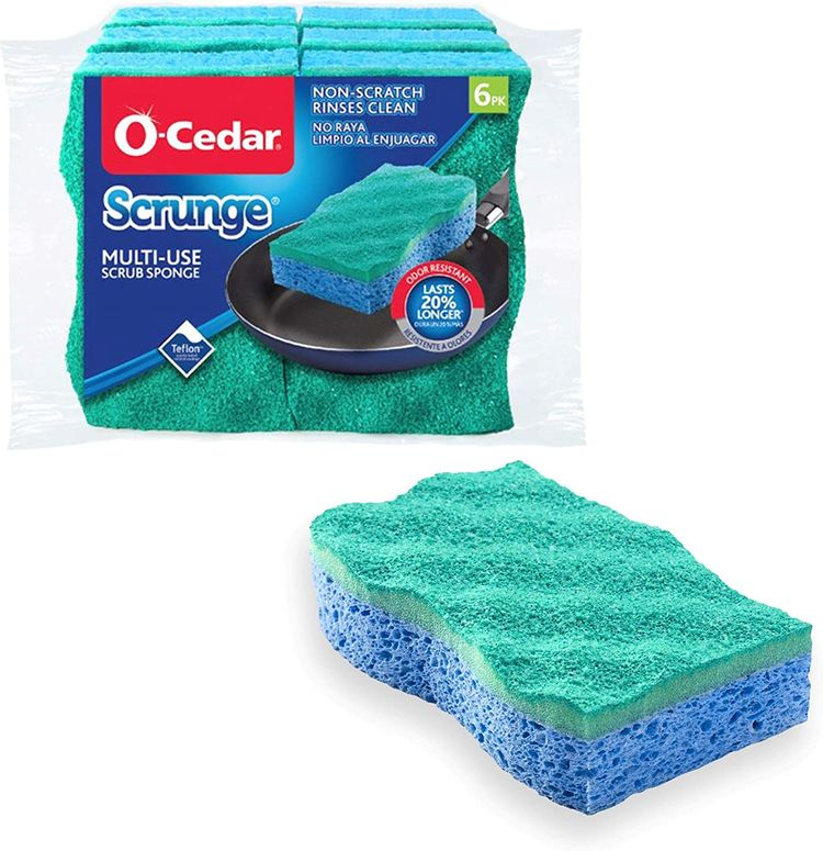 O-Cedar Scrunge Multi-Use (Pack of 6) Non-Scratch, Odor-Resistant All-Purpose Scrubbing Sponge Safely Cleans All Hard Surfaces in Kitchen and Bathroom, 6 Count (Pack of 1), Blue