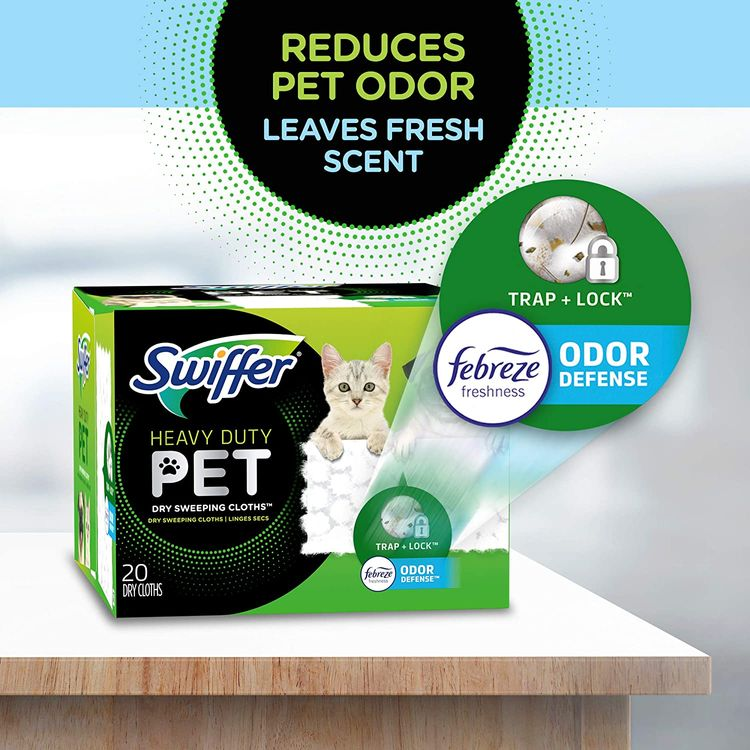 Swiffer Sweeper Pet, Heavy Duty Dry Sweeping Cloth Refills with Febreze Odor Defense, 32 Count
