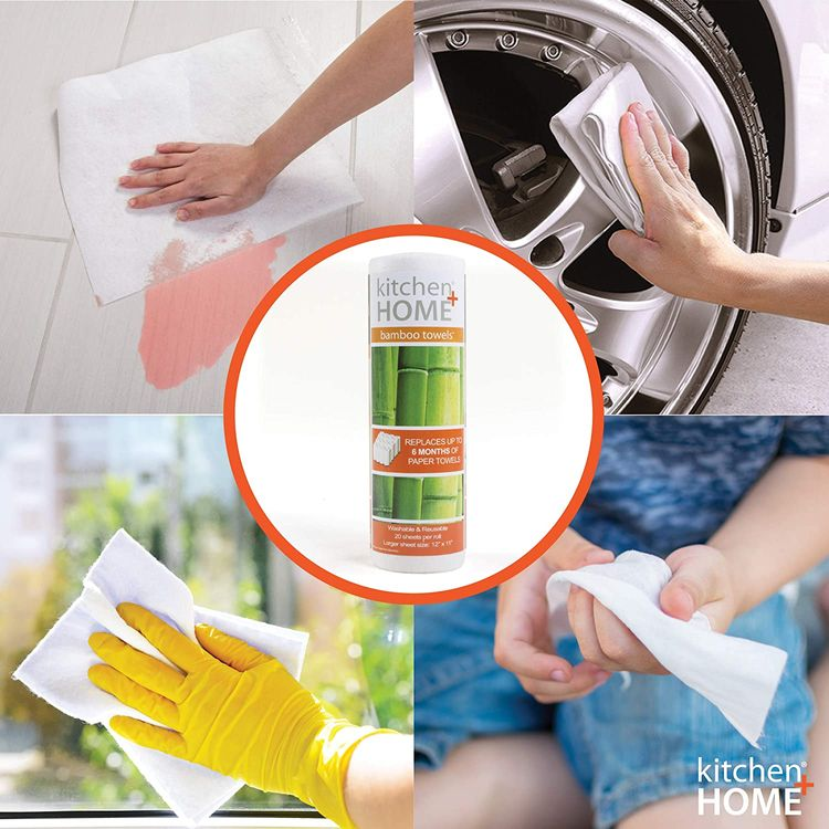 Bamboo Towels - Heavy Duty Machine Washable Reusable Rayon Towels - One roll replaces 6 months of towels! 1 Pack