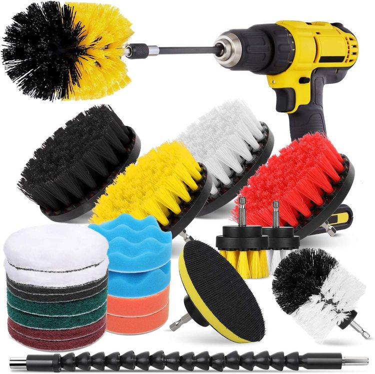 Drill Brush Attachment Set for Cleaning - 23 Pieces - Power Scrubber Brush Pad Sponge Kit with Extend Attachment for Bathroom, Car, Grout, Carpet, Floor, Tub, Shower, Tile, Corners, Kitchen