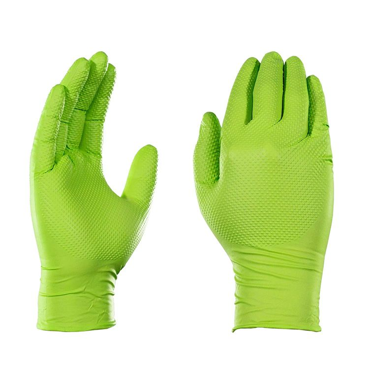GLOVEWORKS HD Industrial Green Nitrile Gloves with Raised Diamond Texture Grip, Box of 100, 8 Mil, Size Medium, Latex Free, Powder Free, Textured, Disposable, Food Safe, GWGN44100-BX