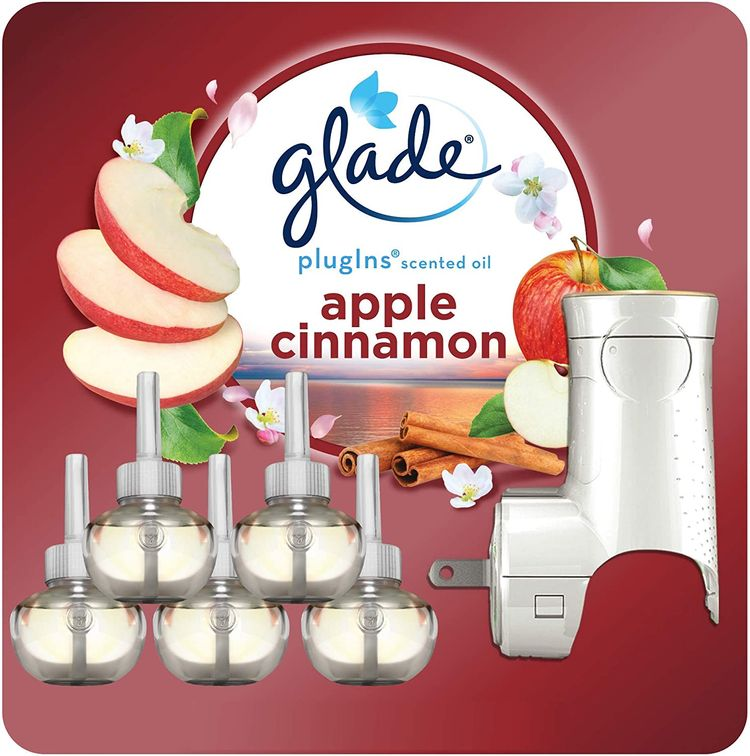 Glade PlugIns Refills Air Freshener Starter Kit, Scented and Essential Oils for Home and Bathroom, Apple Cinnamon, 3.35 Fl Oz, 1 Warmer + 5 Refills