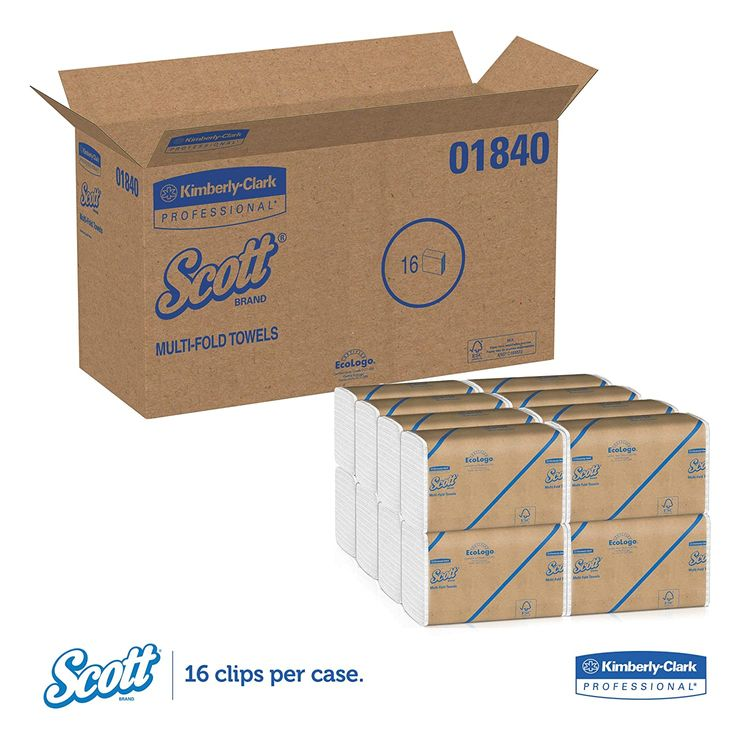 Scott Essential Multifold Paper Towels (01840) with Fast-Drying Absorbency Pockets, White, 16 Clips/Case, 250 Sheets/Clip, 4,000 Towels/Case