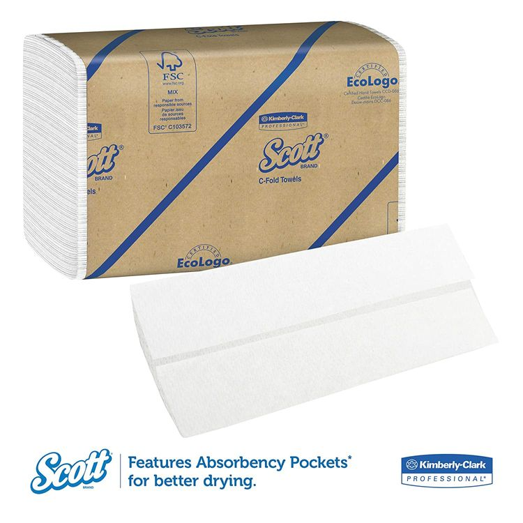 Scott Essential C Fold Paper Towels (01510) with Fast-Drying Absorbency Pockets, 12 Packs / Case, 200 C Fold Towels / Pack