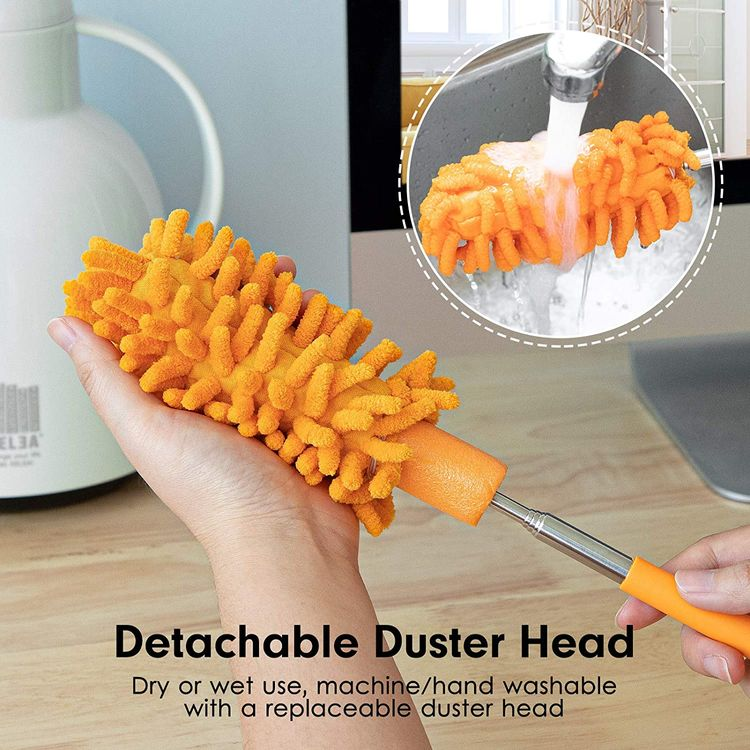 Microfiber Duster for Cleaning, Tukuos Hand Washable Dusters with 2pcs Replaceable Microfiber Head, Extendable Pole, Detachable Cleaning Brush Tool for Office, Car, Window, Furniture, Ceiling Fan
