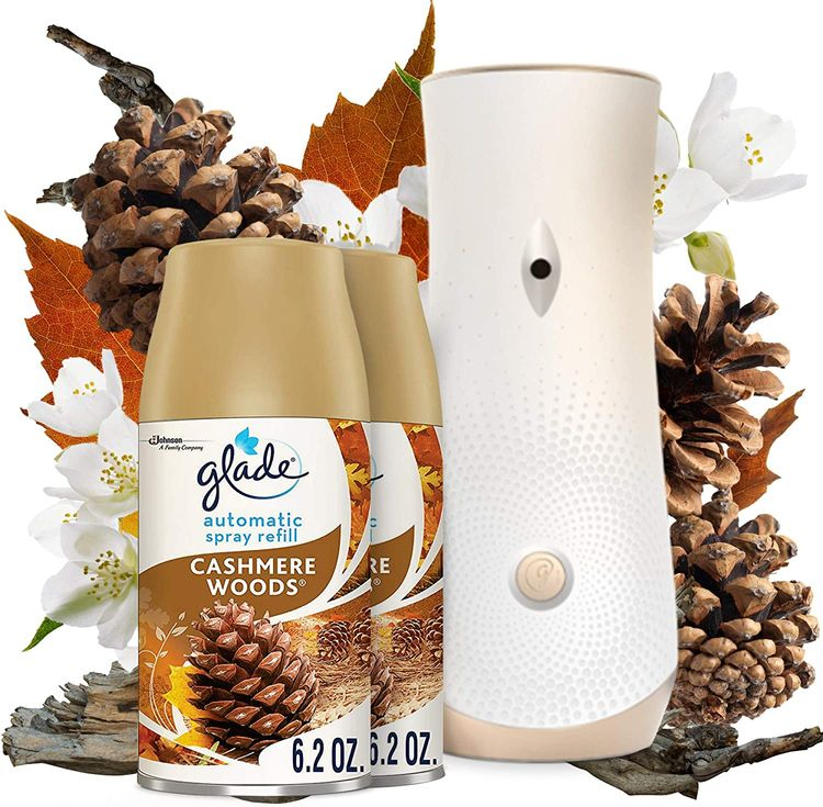 Glade Automatic Spray Refill and Holder Kit, Air Freshener for Home and Bathroom, Cashmere Woods, 6.2 Oz, 2 Count