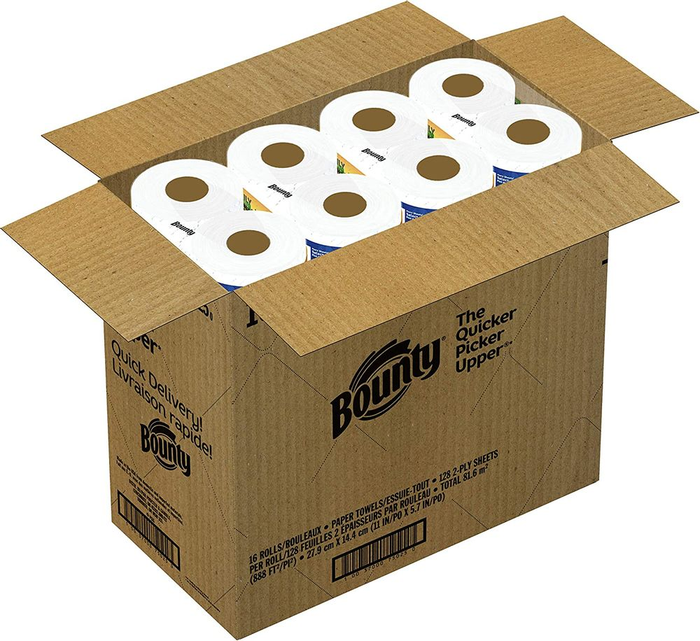 Bounty Quick-Size Paper Towels, White, 16 Family Rolls = 40 Regular Rolls (Packaging May Vary)