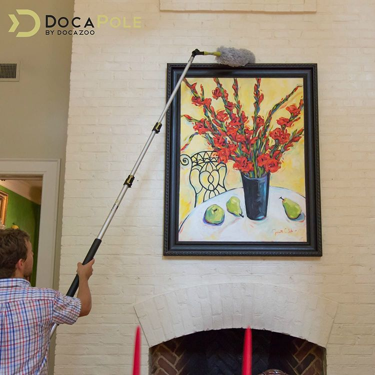 DocaPole 5-12 foot Extension Pole - Multi-Purpose Telescopic Pole // Light Bulb Changer // Paint Roller // Feather Duster Pole // Telescoping Pole for Window Cleaning, Gutter Cleaning & Hanging Lights