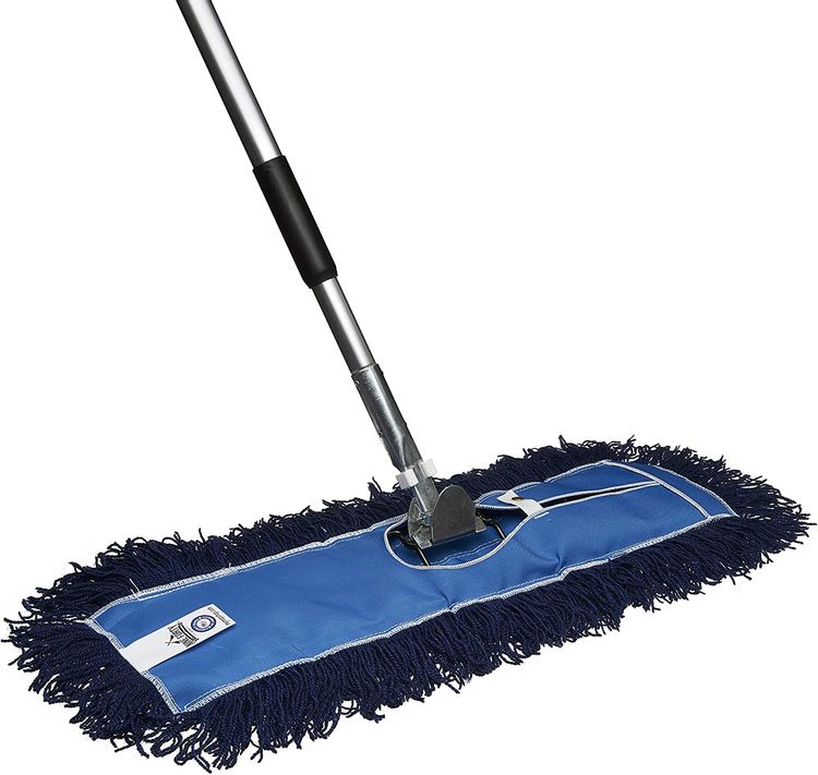 Nine Forty Residential   Commercial 24 Inch Janitorial USA Floor Dry Dust Mop Broom Set   Handle
