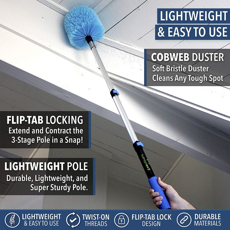 EVERSPROUT 1.5-to-4 Foot Cobweb Duster and Extension-Pole Combo (8-10 Ft Standing Reach, Soft Bristles) | Hand Packaged | Lightweight, 3-Stage Aluminum Pole | Indoor & Outdoor Use Brush Attachment