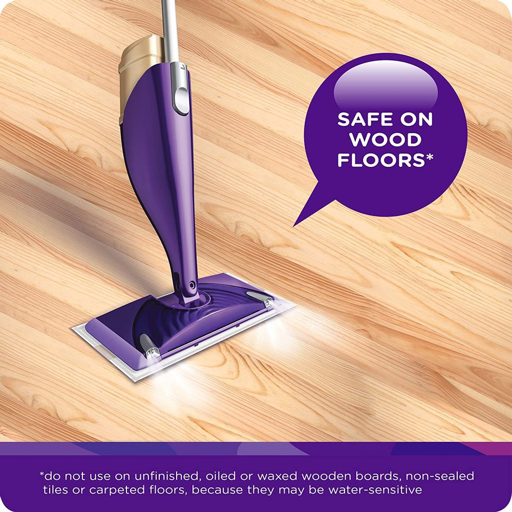 Swiffer WetJet Wood Floor Mopping and Cleaning Starter Kit, 1 Mop, 10 Pads, Cleaning Solution, Batteries