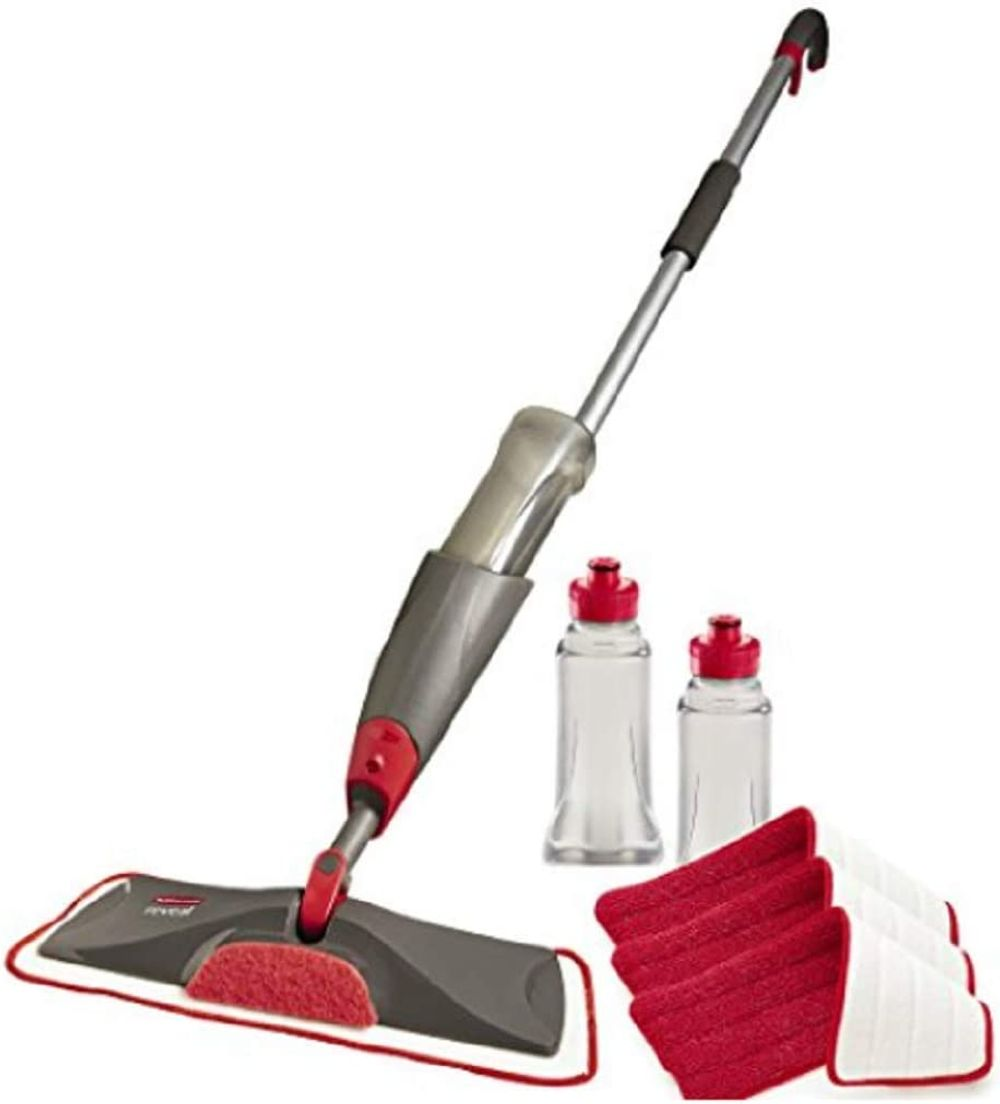 Rubbermaid Reveal Spray Microfiber Floor Mop Cleaning Kit for Laminate & Hardwood Floors, Spray Mop with Reusable Washable Pads, Commercial Mop