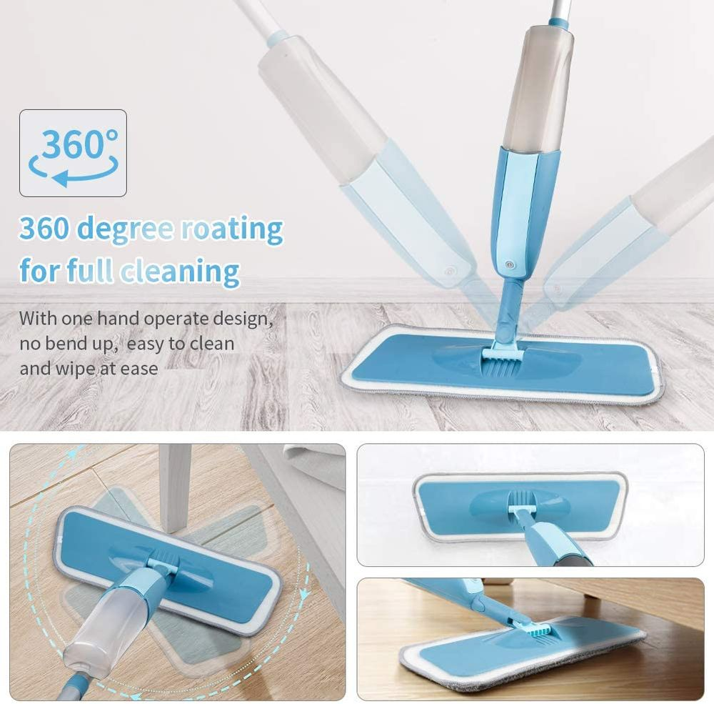 MEXERRIS Microfiber Spray Mop for Floor Cleaning - Wet and Dry, 360 Degree Spin Microfiber Dust Kitchen Mop with 410ML Water Tank Sprayer Include 3 Microfiber Reusable Pads and 1 Scrubber