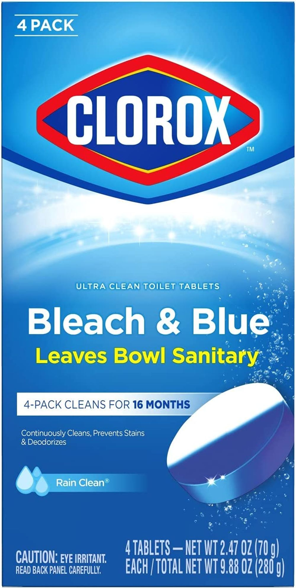 Clorox Ultra Clean Toilet Tablets Bleach & Blue, Rain Clean Scent 2.47 Ounces Each, 4 Count (Package May Vary)