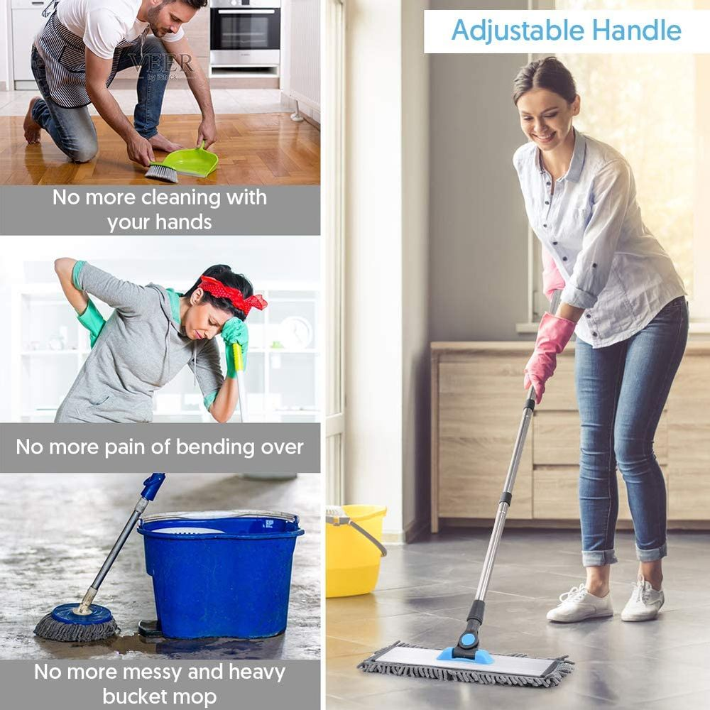 Microfiber Floor Hardwood Mop - MANGOTIME Dust Wet Mop with 4 Washable Chenille & Microfiber Pads and Aluminum Plate, Flat Mop for Floor Cleaning Laminate Wood Tile Vinyl Kitchen Home