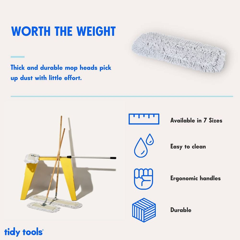 Tidy Tools Industrial Strength Cotton Dust Mop with Solid 63'' Wood Handle and Metal Frame. 36'' X 5'' Wide Cotton Mop Head